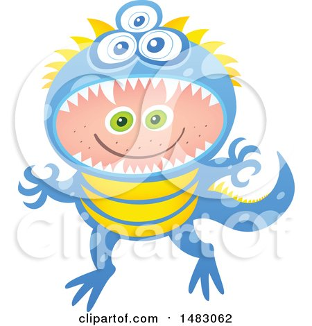 Clipart of a Boy in a Monster Halloween Costume - Royalty Free Vector Illustration by Zooco