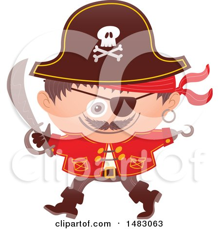 Clipart of a Boy in a Pirate Halloween Costume - Royalty Free Vector Illustration by Zooco