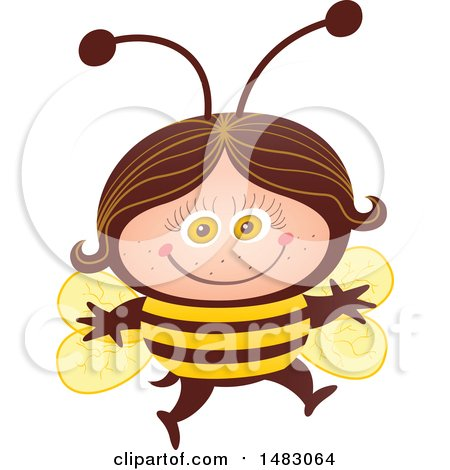 Clipart of a Girl in a Bee Halloween Costume - Royalty Free Vector Illustration by Zooco