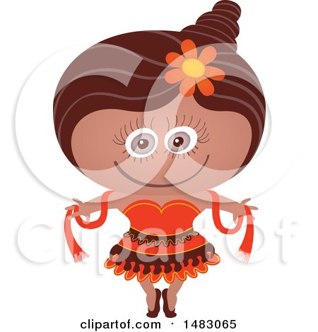 Clipart of a Girl in a Dancer Halloween Costume - Royalty Free Vector Illustration by Zooco
