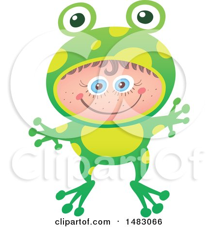 Clipart of a Girl in a Frog Halloween Costume - Royalty Free Vector Illustration by Zooco