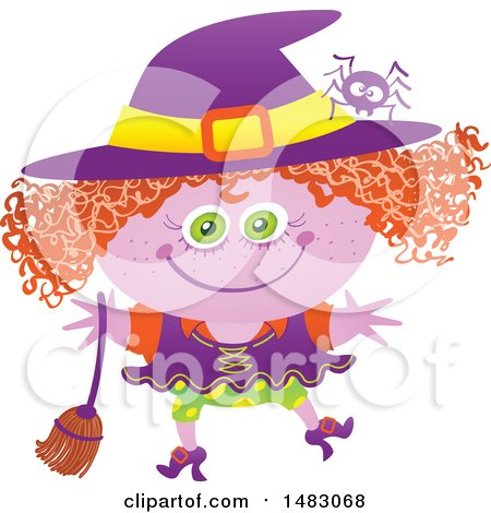 Clipart of a Girl in a Witch Halloween Costume - Royalty Free Vector Illustration by Zooco