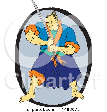 Clipart of a Sketched Samurai Warrior Holding a Katana in an Oval - Royalty Free Vector Illustration by patrimonio