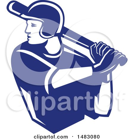 Clipart of a Blue and White Batting Baseball Player - Royalty Free Vector Illustration by patrimonio