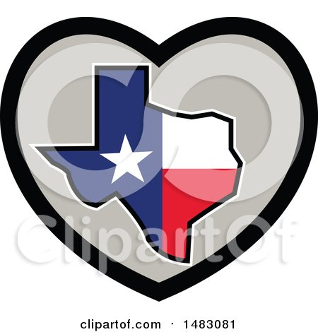Clipart of a Texas Flag State Map in a Heart - Royalty Free Vector Illustration by patrimonio