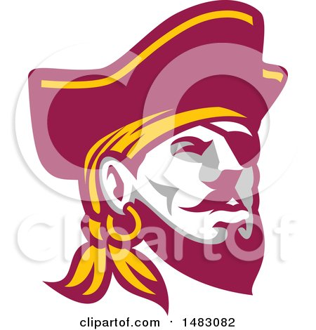 Clipart of a Buccaneer Pirate Face with an Eye Patch - Royalty Free Vector Illustration by patrimonio