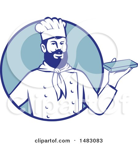 Clipart of a Hipster Chef Holding Chocolate in a Blue Circle - Royalty Free Vector Illustration by patrimonio