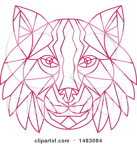 Clipart of a Pink Line Art Bobcat Lynx Head - Royalty Free Vector Illustration by patrimonio