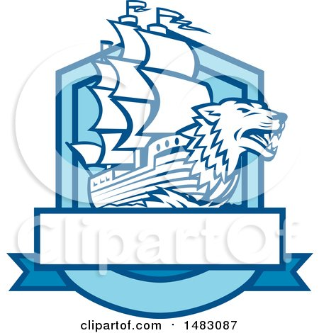 Clipart of a Galleon Ship with a Wolf Head Bow in a Crest - Royalty Free Vector Illustration by patrimonio