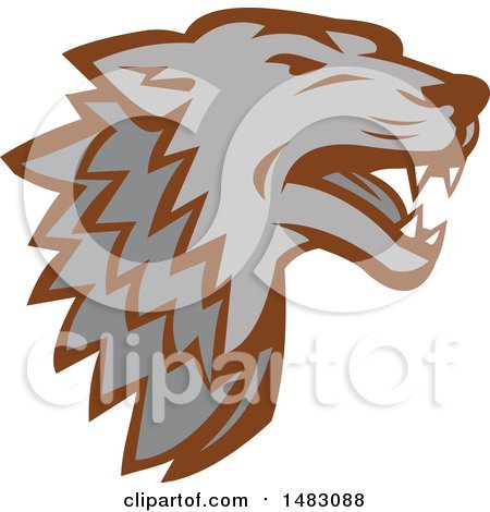 Clipart of a Gray Wolf Head - Royalty Free Vector Illustration by patrimonio