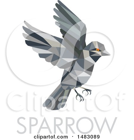 Clipart of a Flying Sparrow Bird in Low Poly Style, over Text - Royalty Free Vector Illustration by patrimonio