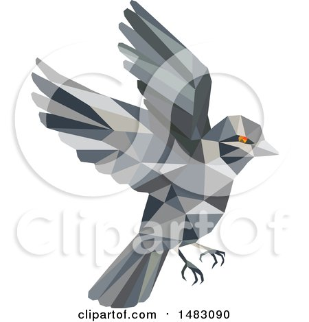 Clipart of a Flying Sparrow Bird in Low Poly Style - Royalty Free Vector Illustration by patrimonio