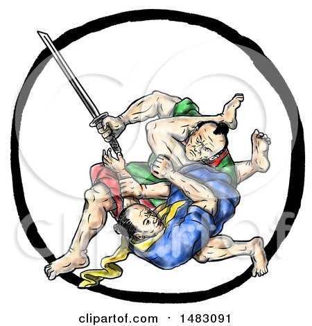Clipart of a Scene of Samurai Warrior Jui Jitsu Judo Fighting in Sketched Tattoo Style - Royalty Free Illustration by patrimonio