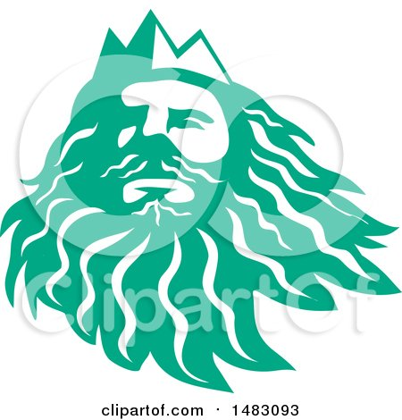 Clipart of a Sea Green Head of Triton - Royalty Free Vector Illustration by patrimonio