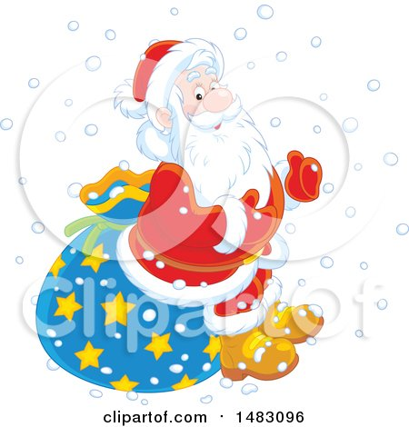 Clipart of a Christmas Santa Claus Sitting on a Sack in the Snow - Royalty Free Vector Illustration by Alex Bannykh