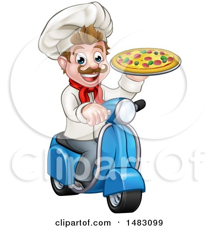 Clipart of a Happy Pizza Delivery Chef Holding up a Pie on a Scooter - Royalty Free Vector Illustration by AtStockIllustration