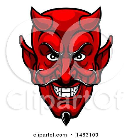 Clipart of a Grinning Evil Red Devil Face - Royalty Free Vector Illustration by AtStockIllustration