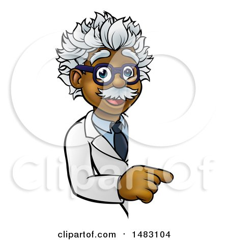 Clipart of a Cartoon Black Male Scientist Pointing down Around a Sign - Royalty Free Vector Illustration by AtStockIllustration