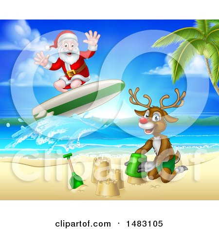Clipart of a Happy Rudolph Red Nosed Reindeer Making a Sand Castle and Santa Surfing - Royalty Free Vector Illustration by AtStockIllustration