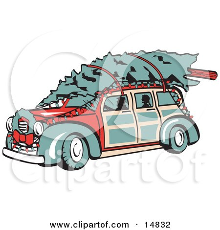 Red Woodie Car Carrying A Christmas Tree On The Roof, Decorated In Christmas Lights And A Wreath Posters, Art Prints