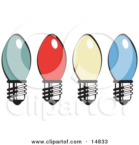 Four Colorful Christmas Lightbulbs Retro Clipart Illustration by Andy Nortnik