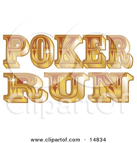 Shiny Golden Western Poker Run Sign Clipart Illustration by Andy Nortnik