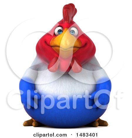 Clipart of a 3d Chubby French Chicken, on a White Background - Royalty Free Illustration by Julos