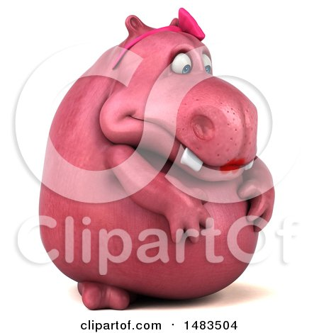 Clipart of a 3d Pink Henrietta Hippo Character Feeling Depressed, on a White Background - Royalty Free Illustration by Julos