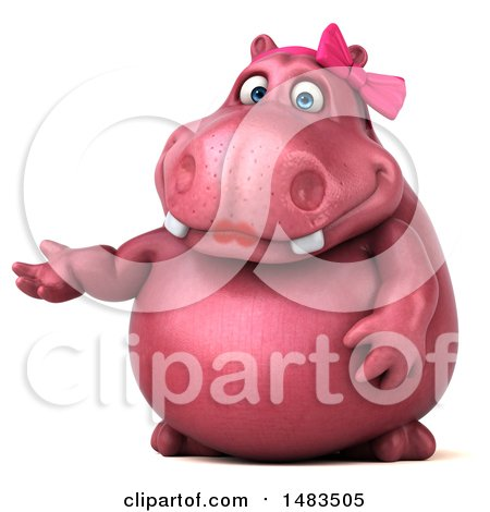 Clipart of a 3d Pink Henrietta Hippo Character Presenting, on a White Background - Royalty Free Illustration by Julos