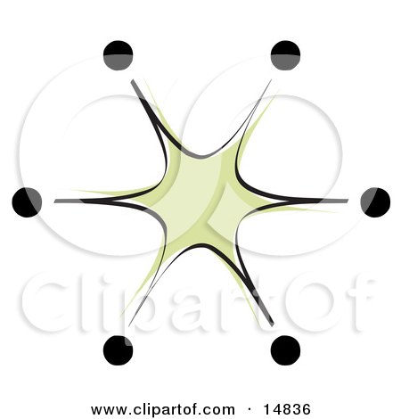 Green Starburst With Black Tips Clipart Illustration