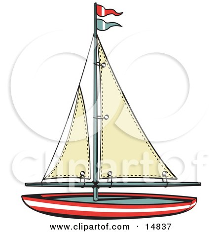 Toy Sailboat With Flags Retro Clipart Illustration