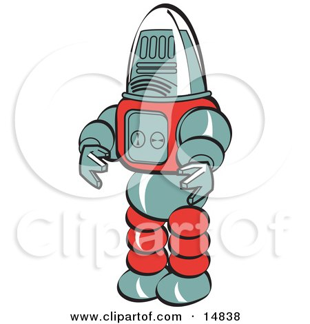 Robot Toy Retro Clipart Illustration by Andy Nortnik