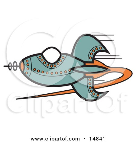 Blue Rocket With Orange Studs Flying Through Outer Space Clipart Illustration