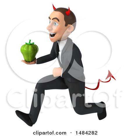 Clipart of a 3d White Devil Businessman, on a White Background - Royalty Free Illustration by Julos