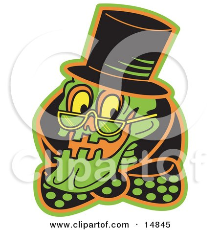 Grinning Human Skeleton Wearing a Hat, Glasses and a Bowtie  Posters, Art Prints