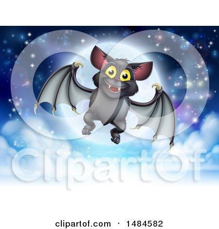 Clipart of a Flying Vampire Bat over a Full Moon - Royalty Free Vector Illustration by AtStockIllustration