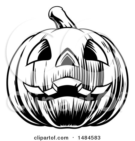 Clipart Of A Black And White Carved Halloween Jackolantern Pumpkin