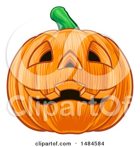 Clipart of a Grinning Carved Halloween Jackolantern Pumpkin - Royalty Free Vector Illustration by AtStockIllustration