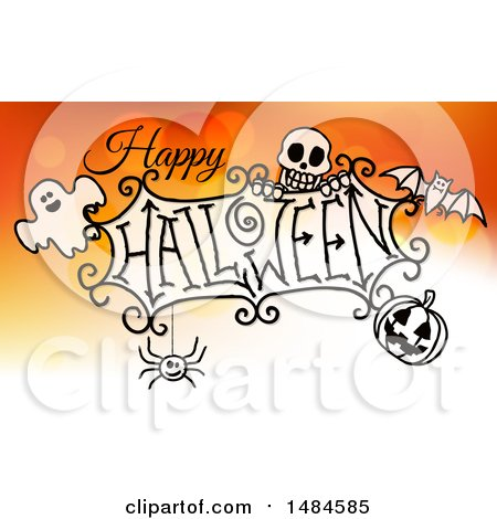 Clipart of a Happy Halloween Greeting with a Ghost, Skull, Bat, Jackolantern and Spider over Gradient Orange - Royalty Free Vector Illustration by AtStockIllustration