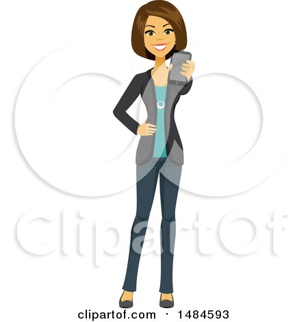 Clipart of a Happy Business Woman Holding out a Cell Phone - Royalty Free Illustration by Amanda Kate