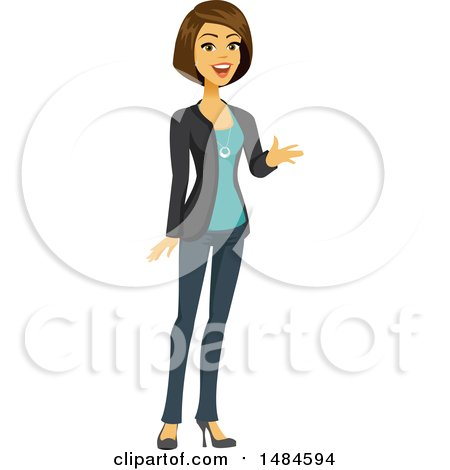Clipart of a Happy Business Woman Talking and Gesturing - Royalty Free Illustration by Amanda Kate