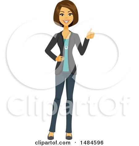 Clipart of a Happy Encouraging Business Woman Giving a Thumb up - Royalty Free Illustration by Amanda Kate