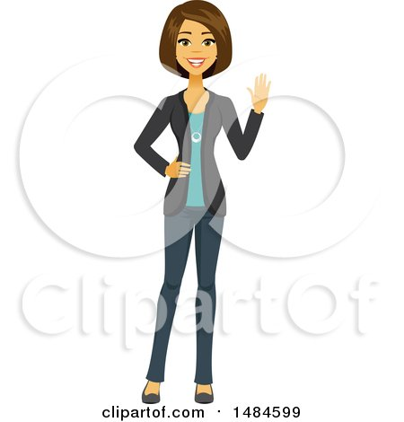 Clipart of a Happy Friendly Business Woman Waving - Royalty Free Illustration by Amanda Kate