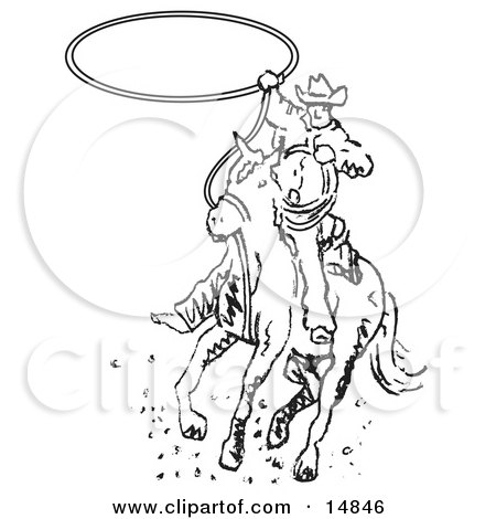 Roper Cowboy on a Horse Swinging a Lasso to Catch a Cow or Horse Clipart Illustration by Andy Nortnik