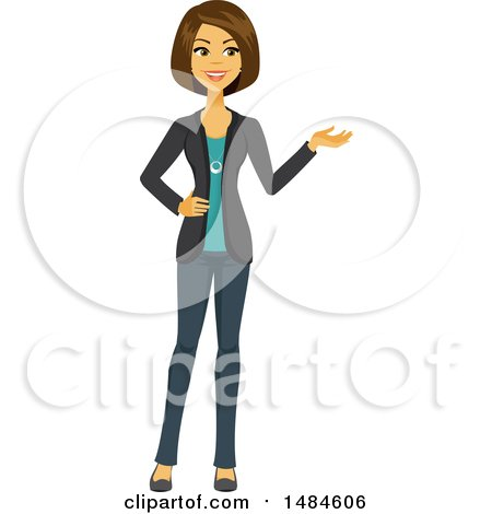 Clipart of a Happy Business Woman Presenting - Royalty Free Illustration by Amanda Kate
