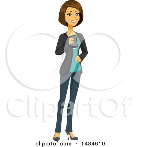 Clipart of a Happy Business Woman Holding a Smart Phone - Royalty Free Illustration by Amanda Kate