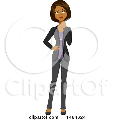 Clipart of a Business Woman Thinking - Royalty Free Illustration by Amanda Kate