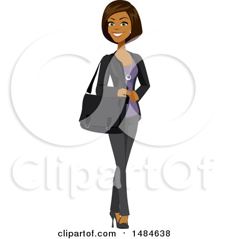 Clipart of a Happy Business Woman with a Bag on Her Shoulder - Royalty Free Illustration by Amanda Kate