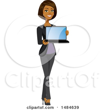 Clipart of a Happy Business Woman Holding a Laptop with a Blank Screen - Royalty Free Illustration by Amanda Kate