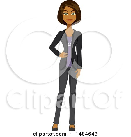 Clipart of a Happy Business Woman with a Hand on Her Hip - Royalty Free Illustration by Amanda Kate